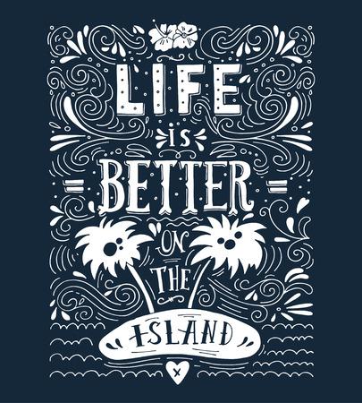 summer: Cada verano tiene una historia. Dibujado a mano de impresión con una cita de letras en la pizarra. Vectores