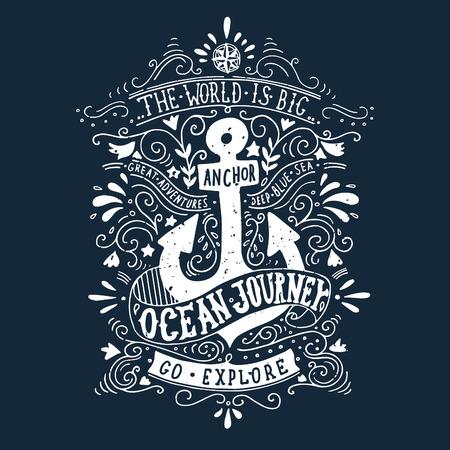 marinero: Dibujado a mano la etiqueta de la vendimia con un ancla y las letras en la pizarra