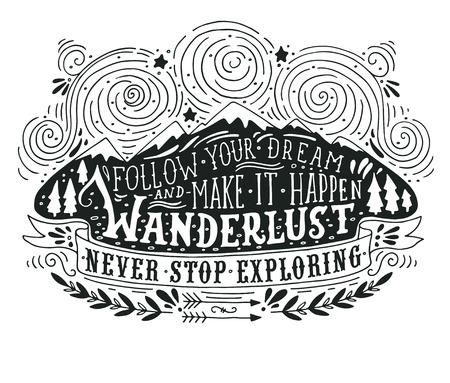 산, 숲과 글자 손으로 그린 빈티지 라벨 일러스트