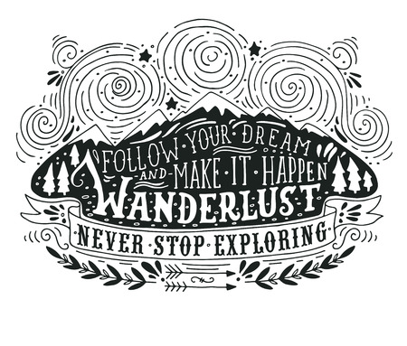 Hand drawn vintage label with mountains, forest and lettering Illustration
