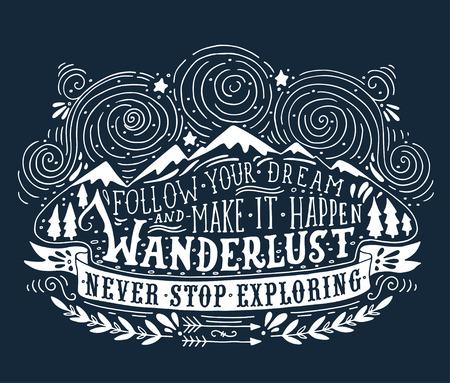 voyage vintage: Main étiquette vintage dessinée avec des montagnes, des forêts et lettrage Illustration