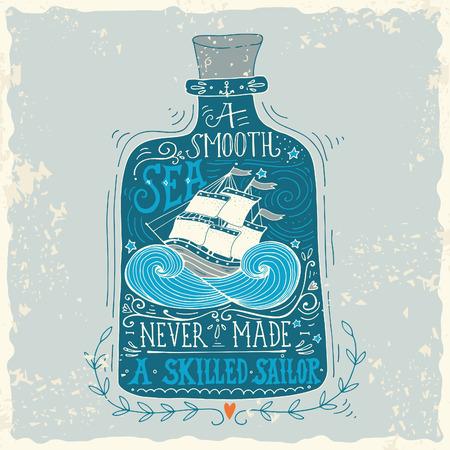 marinero: Dibujado a mano etiqueta de la vendimia con un barco en una botella y la mano letras