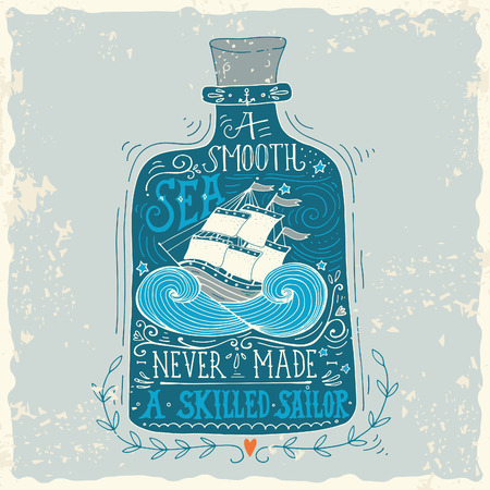 Hand drawn vintage label with a ship in a bottle and hand lettering Ilustracja