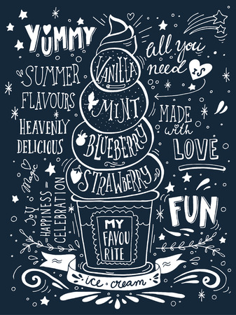 Hand drawn print with ice cream and lettering. Illustration