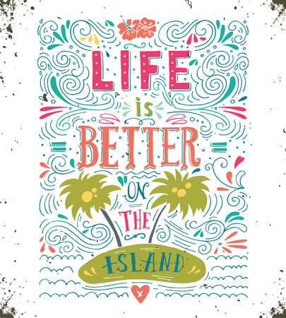 tree of life silhouette: Life is better on the island. Print. Hand drawn quote lettering.