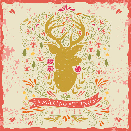 vintage banner: Hand drawn vintage label with a reindeer and hand lettering