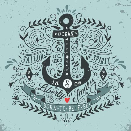 ancre marine: Hand drawn vintage label avec une ancre et le lettrage Illustration