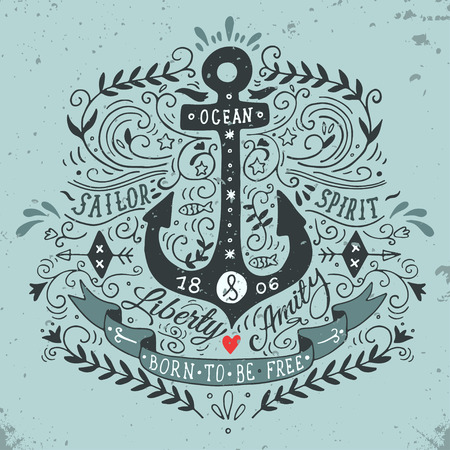 anchor drawing: Hand drawn vintage label with an anchor and lettering Illustration
