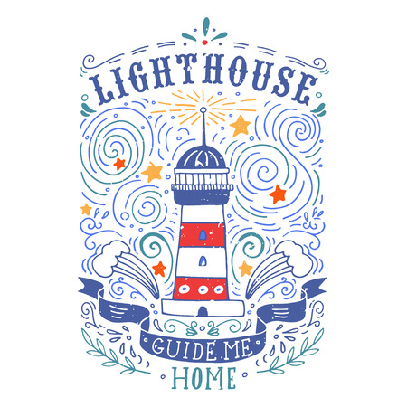 nautical pattern: Hand drawn vintage label with a lighthouse and lettering