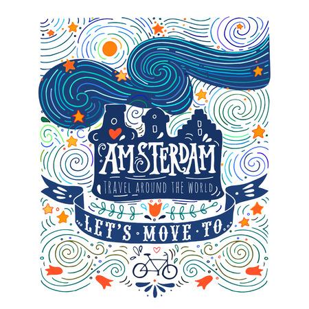 ヴァン ・ ゴッホのスタイルでアムステルダムのカナルハウスで手描き下ろしビンテージ ラベル  イラスト・ベクター素材