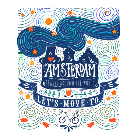 Hand drawn vintage label with Amsterdam canal houses in Van Gogh style