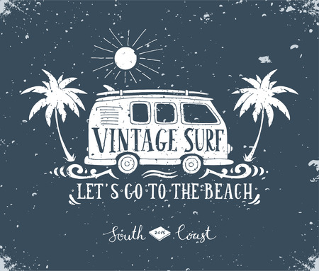 Vintage summer surf print with a mini van, palm trees and lettering.