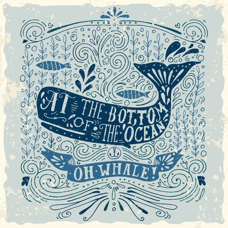 Hand getekend vintage label met een walvis en belettering. Deze afbeelding kan worden gebruikt als print op T-shirts en tassen. Stock Illustratie