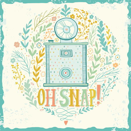 hand illustration: Hand drawn grunge print with a vintage camera and hand lettering