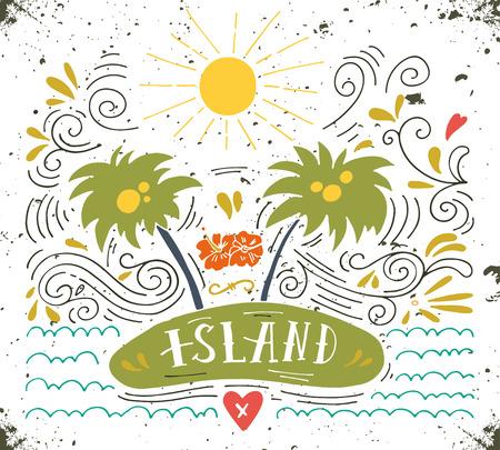 oracion: Dibujado a mano cosecha de impresión con una isla, palmeras y letras de la mano Vectores