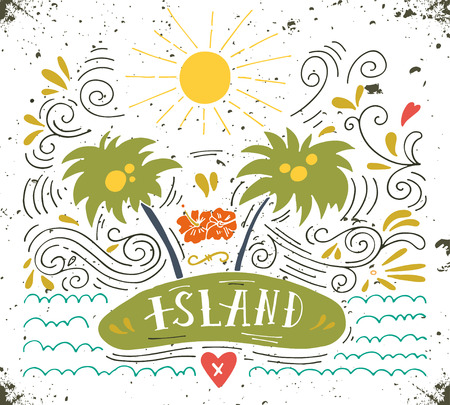 sentence: Hand drawn vintage print with an island, palm trees and hand lettering