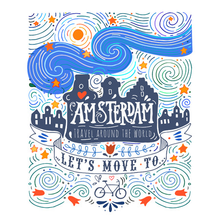 Hand drawn vintage label with Amsterdam canal houses in Van Gogh style 版權商用圖片 - 41691441