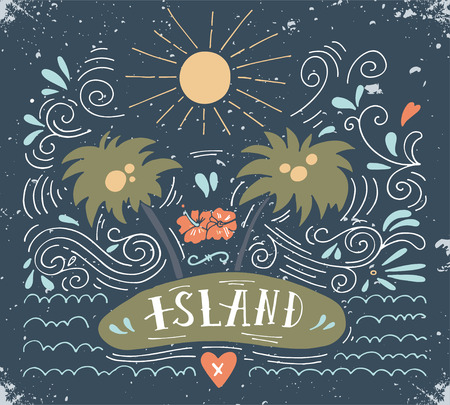 cocoa beach: Hand drawn vintage print with an island, palm trees and hand lettering
