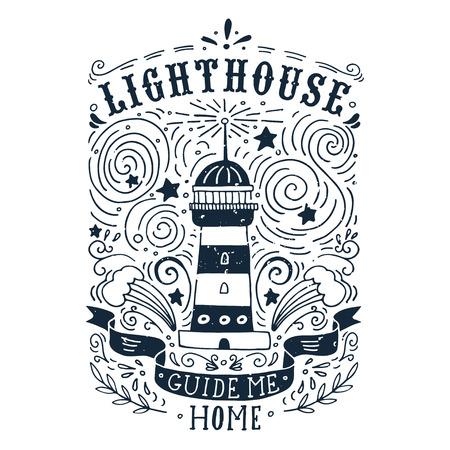 手灯台とレタリングの描かれたヴィンテージのラベルです。この図は、t シャツやバッグにプリントとして使用できます。 写真素材 - 41691453