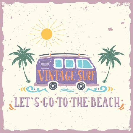 surfing: Vintage summer surf print with a mini van, palm trees and lettering.