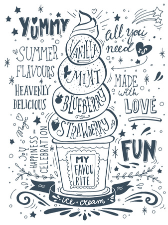 vanilla ice cream: Hand drawn print with ice cream and lettering. Illustration