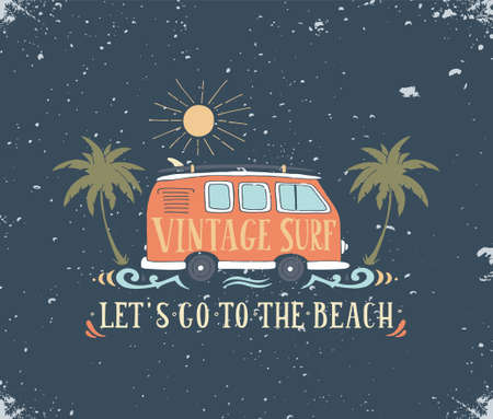 camper: Vintage summer surf print with a mini van, palm trees and lettering.