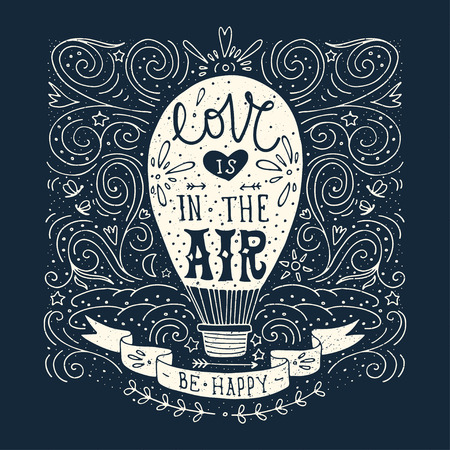 hot love: Hand drawn vintage print with a hot air balloon and hand lettering on blackboard
