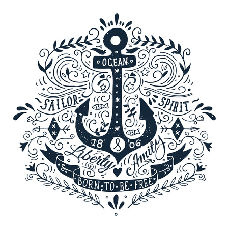 nautical: Hand drawn vintage label with an anchor and lettering Illustration