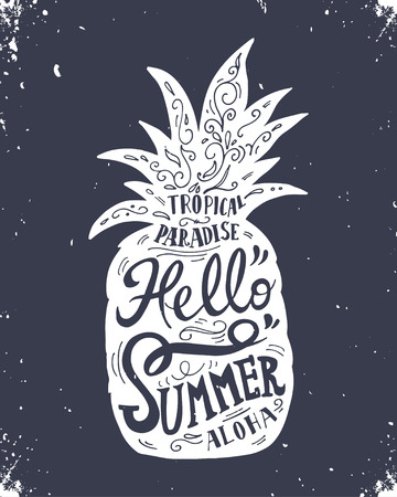 Hand drawn vintage label with pineapple and lettering Hello summer Ilustracja