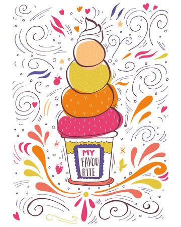 helados: Mano etiqueta del vintage dibujado con helado y letras Vectores