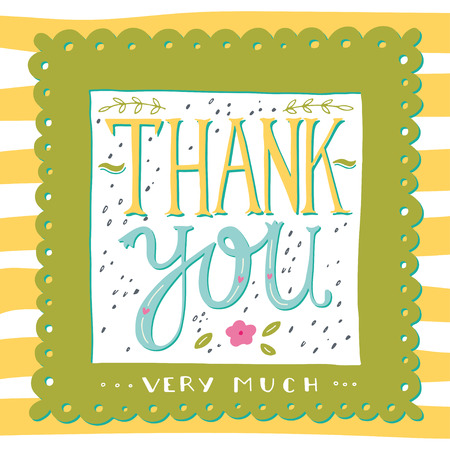 thank you very much: Thank you very much. Hand drawn greeting card.