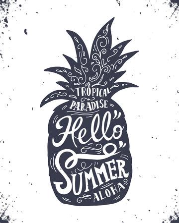 """손에 """"Hello 여름""""파인애플과 문자 빈티지 라벨을 그려"""