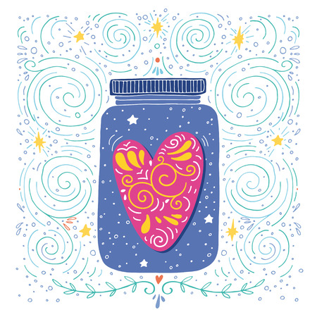 Hand drawn vintage print with a jar and decorated heart 版權商用圖片 - 41691376