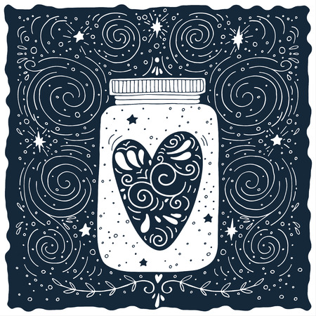 heart sketch: Hand drawn vintage print with a jar and decorated heart Illustration