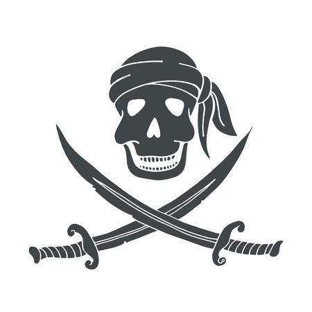 Jolly Roger. Hand drawn illustration of skull with swords. Illustration