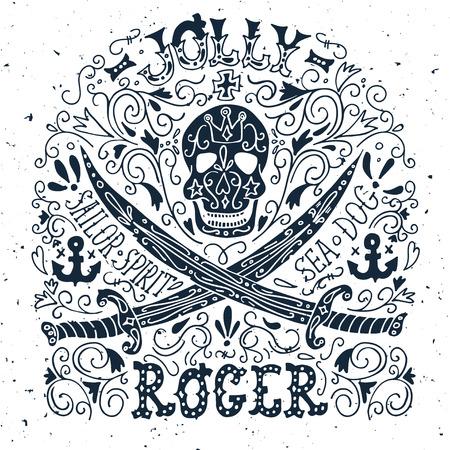 drapeau pirate: Jolly Roger. Hand drawn vintage label avec un crâne de pirate et deux épées. Illustration