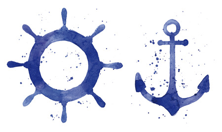 Watercolor illustration of an anchor and a steering wheel Vectores
