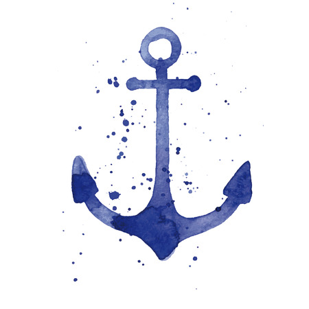 Watercolor illustration of an anchor