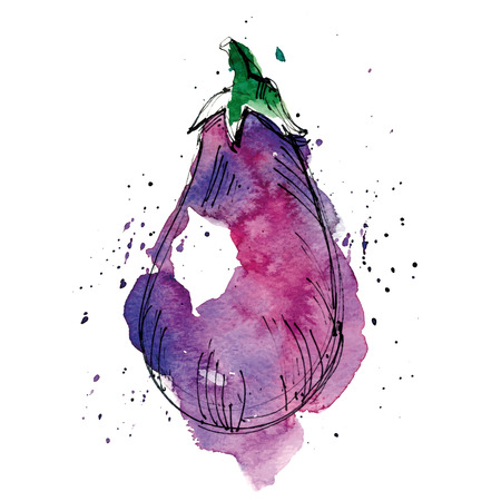 Watercolor illustration of eggplant