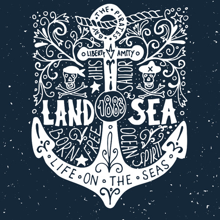 vessel: Hand drawn vintage label with an anchor on grunge background Illustration