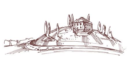 tuscany vineyard: Hand drawn illustration of an Italian house on hill Illustration