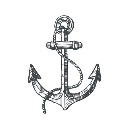 Hand drawn illustration of an anchor