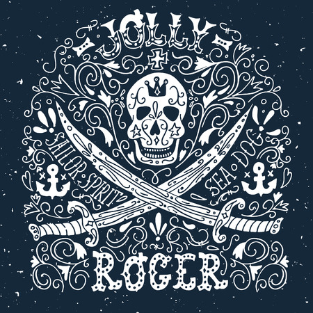 jolly roger: Jolly Roger. Hand drawn vintage label with a pirat skull and two swords.