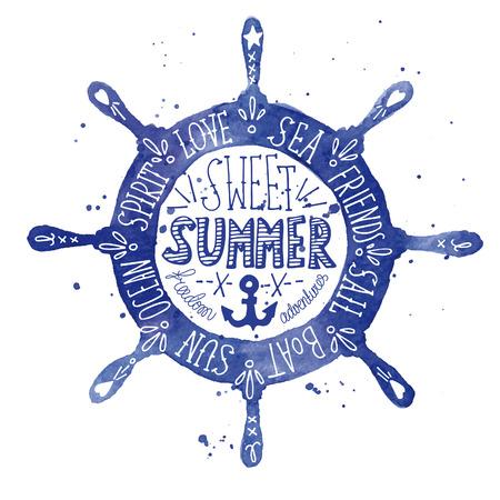 marinero: Etiqueta de la acuarela de la vendimia con un volante