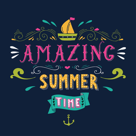 boats: Hand drawn vintage print with a boat, anchor and hand lettering. This illustration can be used as a greeting card or as a print on T-shirts and bags. Illustration