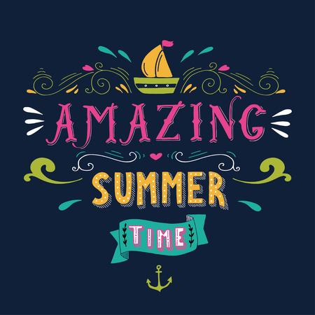 chaloupe: Tiré par la main tirage d'époque avec un bateau, ancre et le lettrage à la main. Cette illustration peut être utilisé comme une carte de voeux ou comme une impression sur t-shirts et des sacs.