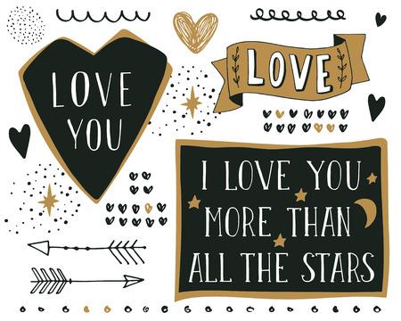 문자와 다른 손으로 그린 디자인 요소의 집합입니다. 인용문. 나는 당신에게 모든 별보다 더 사랑 해요.
