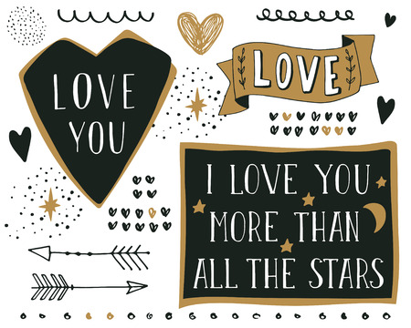 love: Set of different hand drawn design elements with lettering. Quote. I love you more than all the stars.