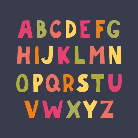 sans serif: Colorful hand drawn doodle sans serif alphabet