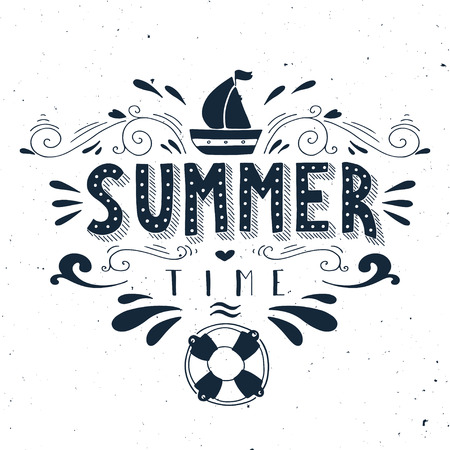 summer season: Hand drawn vintage print with a boat, life buoy and hand lettering. This illustration can be used as a greeting card or as a print on T-shirts and bags.